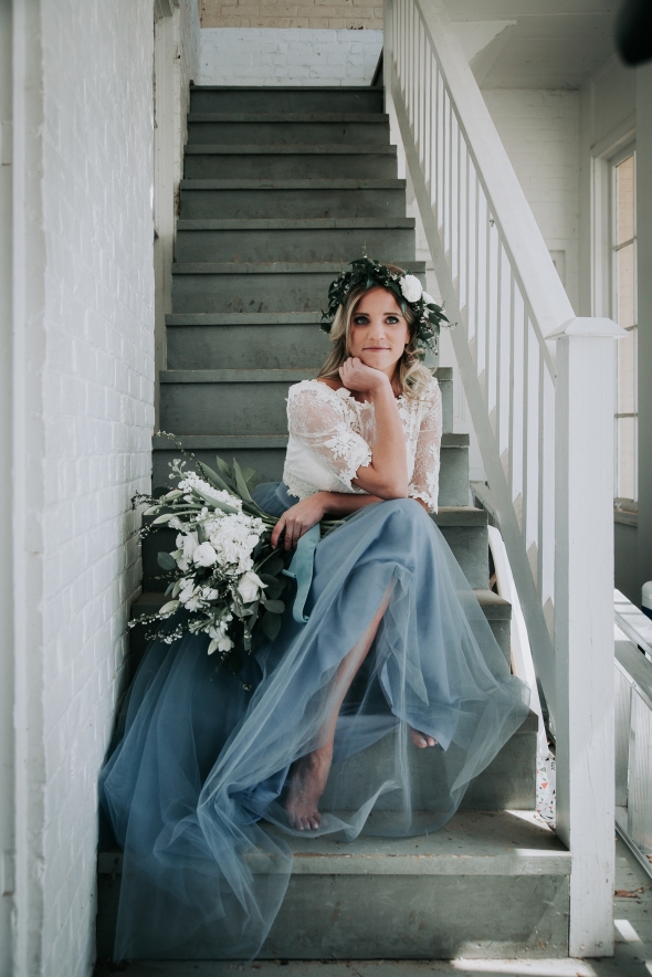 Blackacre Conservancy Wedding Photos Dusty Blue Wedding Dress